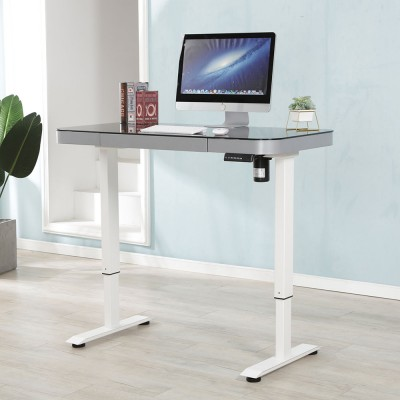 Computer desk height adjustable electric column stand up desk
